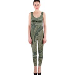 Vintage Background Green Leaves One Piece Catsuit