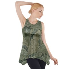 Vintage Background Green Leaves Side Drop Tank Tunic