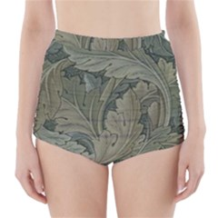 Vintage Background Green Leaves High Waisted Bikini Bottoms