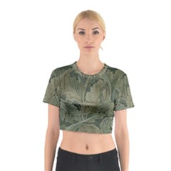 Vintage Background Green Leaves Cotton Crop Top