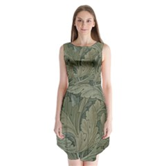 Vintage Background Green Leaves Sleeveless Chiffon Dress