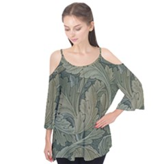Vintage Background Green Leaves Flutter Tees