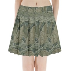 Vintage Background Green Leaves Pleated Mini Skirt