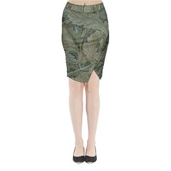Vintage Background Green Leaves Midi Wrap Pencil Skirt