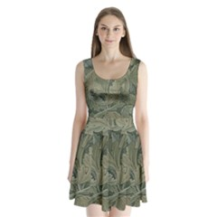 Vintage Background Green Leaves Split Back Mini Dress