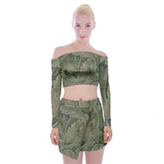 Vintage Background Green Leaves Off Shoulder Top With Mini Skirt Set