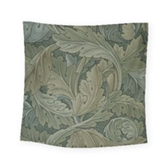 Vintage Background Green Leaves Square Tapestry (small)