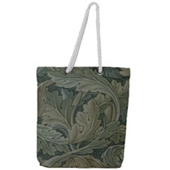 Vintage Background Green Leaves Full Print Rope Handle Tote (large)