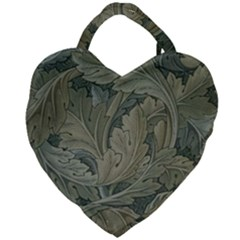 Vintage Background Green Leaves Giant Heart Shaped Tote
