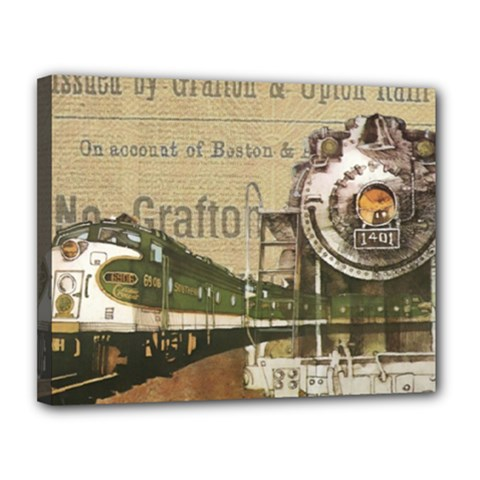 Train Vintage Tracks Travel Old Canvas 14  X 11