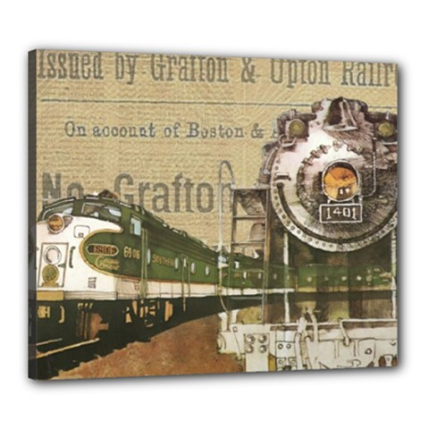 Train Vintage Tracks Travel Old Canvas 24  X 20