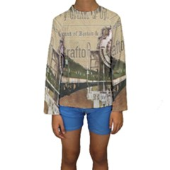 Train Vintage Tracks Travel Old Kids  Long Sleeve Swimwear