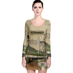 Train Vintage Tracks Travel Old Long Sleeve Bodycon Dress