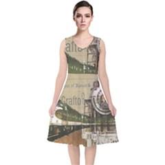 Train Vintage Tracks Travel Old V Neck Midi Sleeveless Dress  by Nexatart