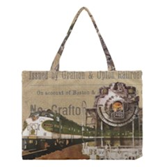 Train Vintage Tracks Travel Old Medium Tote Bag