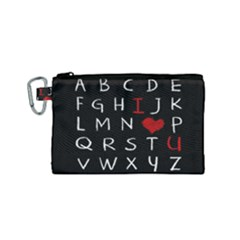 Love Alphabet Canvas Cosmetic Bag (small) by Valentinaart