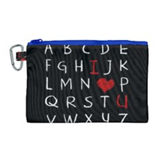 Love Alphabet Canvas Cosmetic Bag (large) by Valentinaart