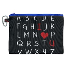 Love Alphabet Canvas Cosmetic Bag (xl) by Valentinaart