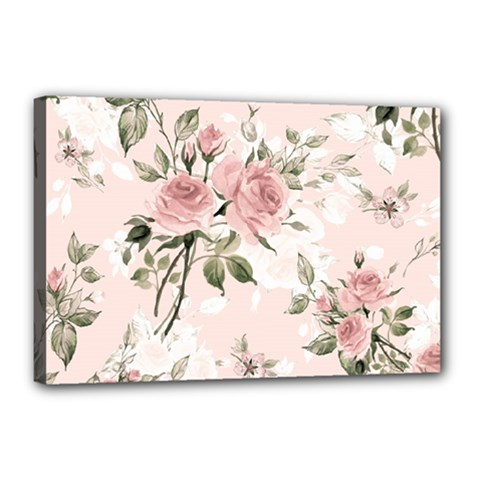 Pink Shabby Chic Floral Canvas 18  X 12  by 8fugoso