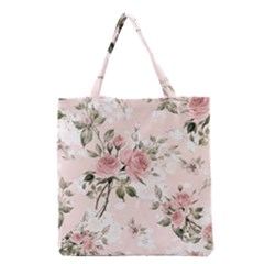 Pink Shabby Chic Floral Grocery Tote Bag by 8fugoso