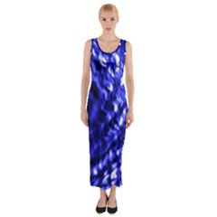Blue Ripple Fitted Maxi Dress