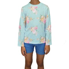 Mint,shabby Chic,floral,pink,vintage,girly,cute Kids  Long Sleeve Swimwear by 8fugoso