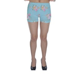 Mint,shabby Chic,floral,pink,vintage,girly,cute Skinny Shorts by 8fugoso