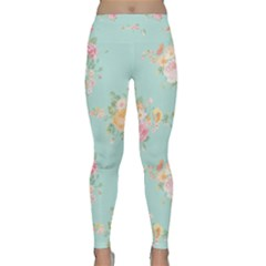 Mint,shabby Chic,floral,pink,vintage,girly,cute Classic Yoga Leggings by 8fugoso