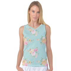 Mint,shabby Chic,floral,pink,vintage,girly,cute Women s Basketball Tank Top by 8fugoso