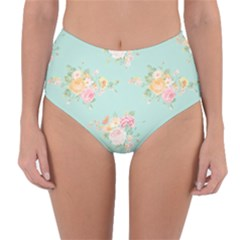 Mint,shabby Chic,floral,pink,vintage,girly,cute Reversible High Waist Bikini Bottoms by 8fugoso