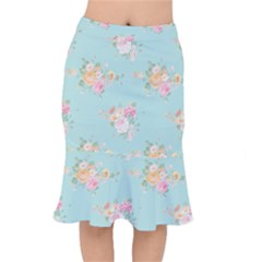 Mint,shabby Chic,floral,pink,vintage,girly,cute Mermaid Skirt by 8fugoso