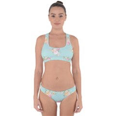 Mint,shabby Chic,floral,pink,vintage,girly,cute Cross Back Hipster Bikini Set by 8fugoso