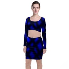 Abstract Plaid Long Sleeve Crop Top & Bodycon Skirt Set by vwdigitalpainting