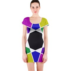 Compass Abstract Short Sleeve Bodycon Dress by vwdigitalpainting