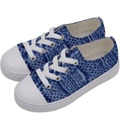 Knitted Wool Square Blue Kids  Low Top Canvas Sneakers by snowwhitegirl
