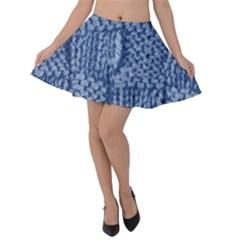 Knitted Wool Square Blue Velvet Skater Skirt by snowwhitegirl