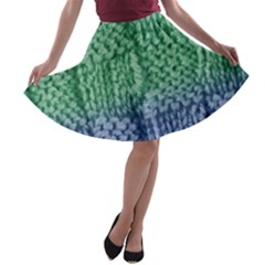 Knitted Wool Square Blue Green A Line Skater Skirt by snowwhitegirl
