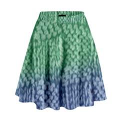 Knitted Wool Square Blue Green High Waist Skirt by snowwhitegirl