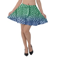 Knitted Wool Square Blue Green Velvet Skater Skirt by snowwhitegirl
