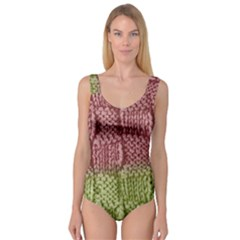 Knitted Wool Square Pink Green Princess Tank Leotard  by snowwhitegirl