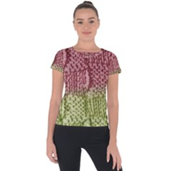 Knitted Wool Square Pink Green Short Sleeve Sports Top  by snowwhitegirl