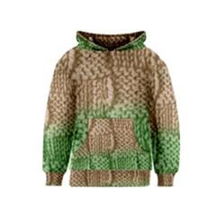 Knitted Wool Square Beige Green Kids  Pullover Hoodie by snowwhitegirl
