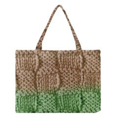 Knitted Wool Square Beige Green Medium Tote Bag by snowwhitegirl