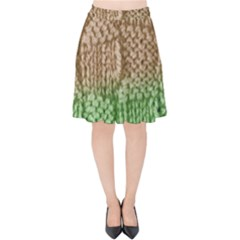 Knitted Wool Square Beige Green Velvet High Waist Skirt by snowwhitegirl