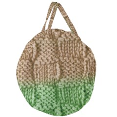 Knitted Wool Square Beige Green Giant Round Zipper Tote by snowwhitegirl
