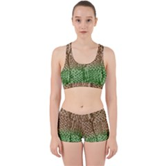 Knitted Wool Square Beige Green Work It Out Sports Bra Set