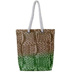 Knitted Wool Square Beige Green Full Print Rope Handle Tote (small) by snowwhitegirl