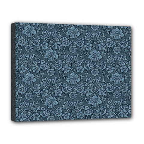 Damask Blue Canvas 14  X 11  by vintage2030