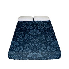 Damask Blue Fitted Sheet (full/ Double Size) by vintage2030