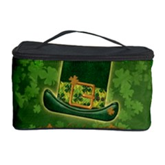 Happy St  Patrick s Day With Clover Cosmetic Storage Case by FantasyWorld7